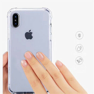 For iPhone XS Max XR X 8 7 6 5 Shockproof Bumper Transparent Silicone Case Cover 7