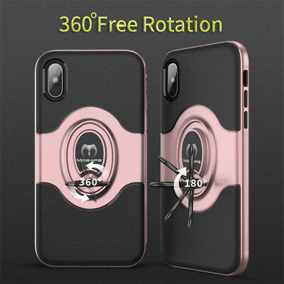 For iPhone XS Max XR XS X Ring Magnetic Shockproof Hybrid TPU Bumper Case Cover 11