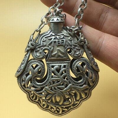 """chinese Tibetan silver old copper hand carved """"福"""" statue snuff bottle 57g a791 7"""