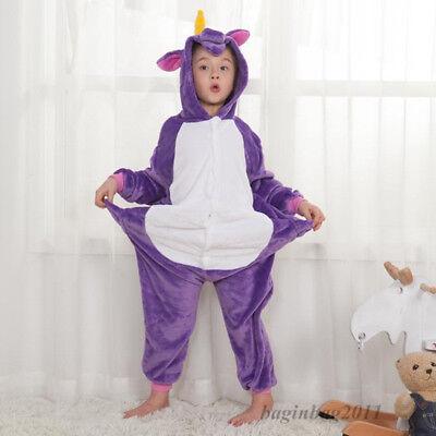 Kids Boy/Girls Rainbow Unicorn Kigurumi Animal Cosplay Pajamas Costume Sleepwear 8
