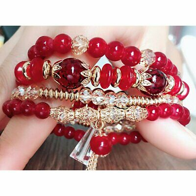 Women Boho Multi-layer Crystal Beaded Beads Bohemia Cuff Bracelets Set Bangle 4
