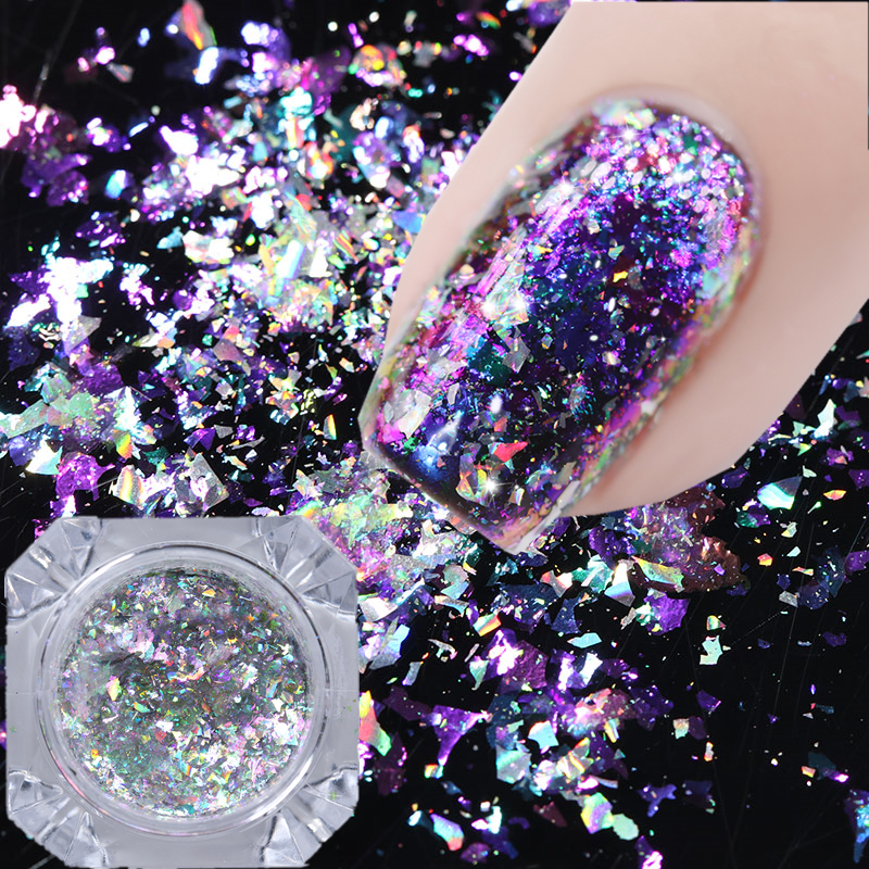Born Pretty Irregular Glitter Nails Sequins Flakes Gold Silver Paillette Powder 2