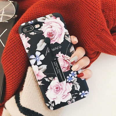 For iPhone X 8 7 6S Plus Retro Rose Flower Ring Holder Kickstand Hard Case Cover 10