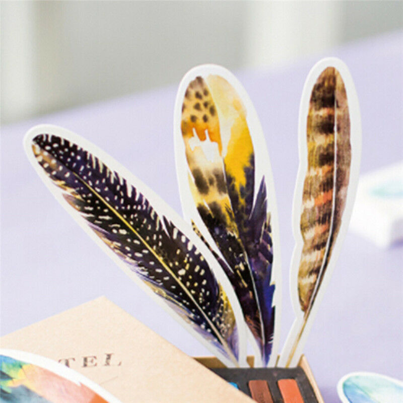 30Pcs Colorful Paper Bookmark Feather Bookmark Cartoon  DIY Stationery Gift Pack