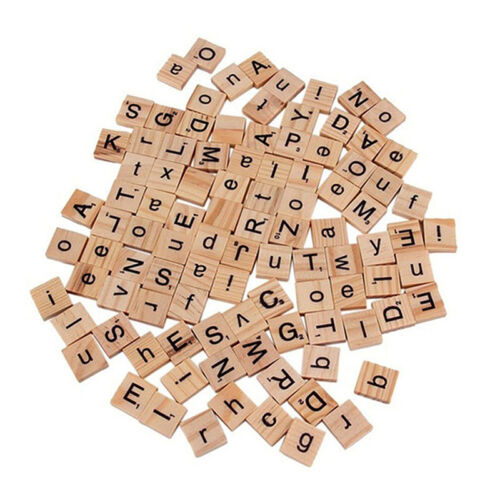 100 Wood Scrabble Tiles Letter Alphabet Scrabbles Number English Word Kids Learn 6