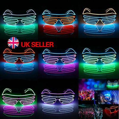 LED EL Wire Glasses Light Up Glow Sunglasses Eyewear Shades for Nightclub Party 3