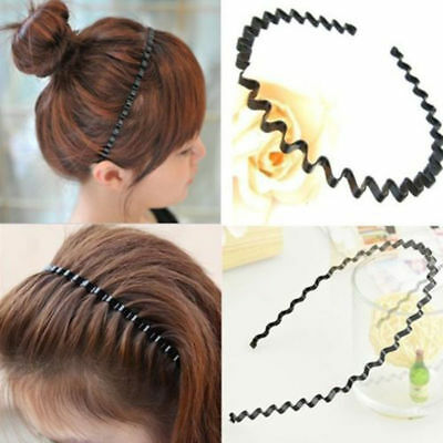 Fashion Men Women Girls Sports Metal Wave HOOP Headband Hair Band Unisex AU 7