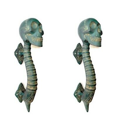 2 Small SKULL handle DOOR PULL aged GREEN patina solid BRASS old style 21cm B 2