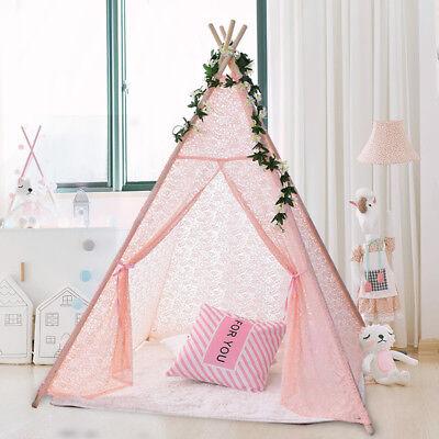 New Kids Teepee wigwam childrens play tent childs garden indoor toy 5' Canvas UK 5