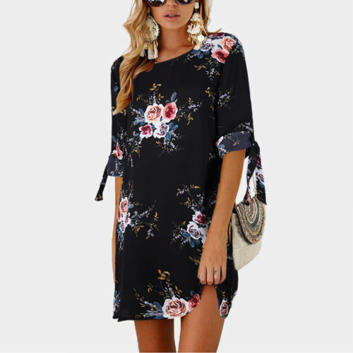 Women Floral Printed Long Tops Blouse Summer Beach Tunic Dress Plus Size 6-22 9