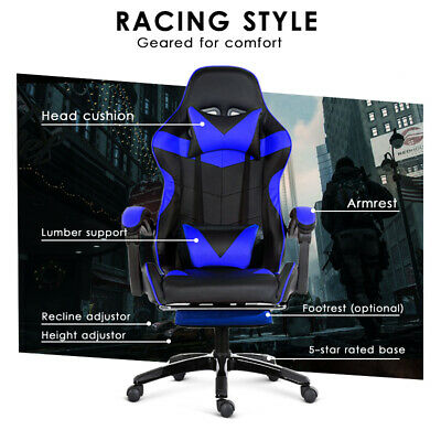 Gaming Chair Office Computer Seating Racing PU Leather Executive Racer Footrest 5