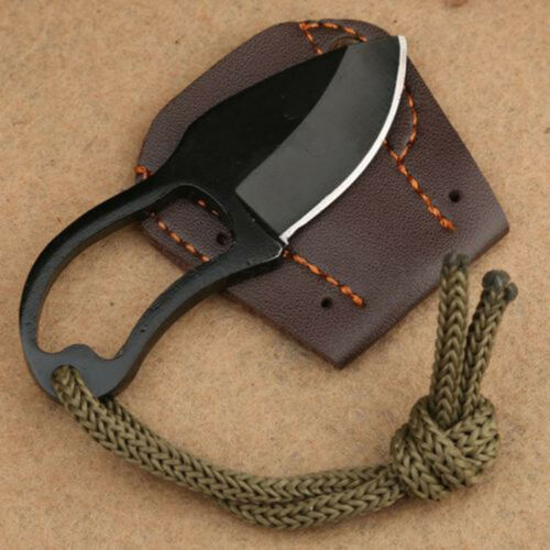 Mini Pocket Finger Paw Self-defence Survival Fishing Neck Knife With Sheath Hot 4
