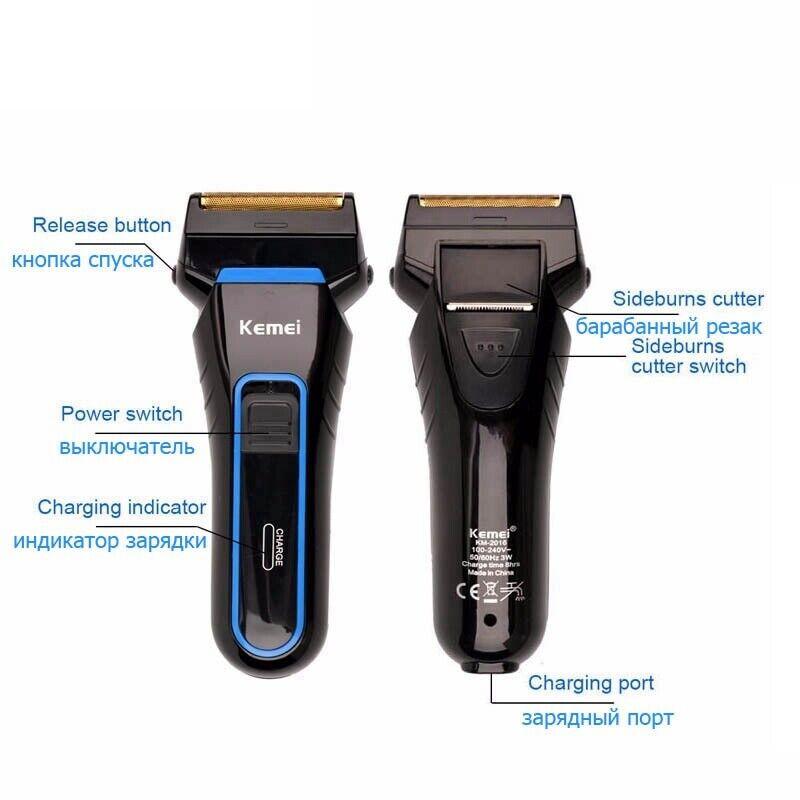 Kemei Comfort Series Men Dual Foil Electric Cordless Shaver Trimmer Rechargeable 2