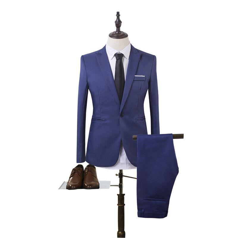 Mens Slim Fit Formal Business Work Tuxedos Suit Blaze Coat Pants Wedding Prom 7