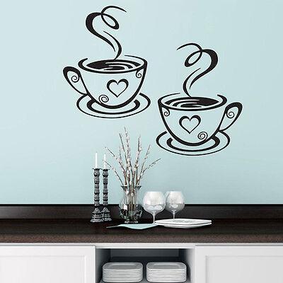 Coffee Cups Cafe Tea Wall Stickers Art Vinyl Decal Kitchen Restaurant Pub Decor 2