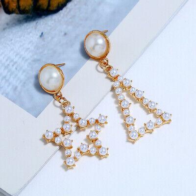 Geometric Irregular Circle Baroque Pearl Earrings Metal Gold Drop Dangle Earring 10