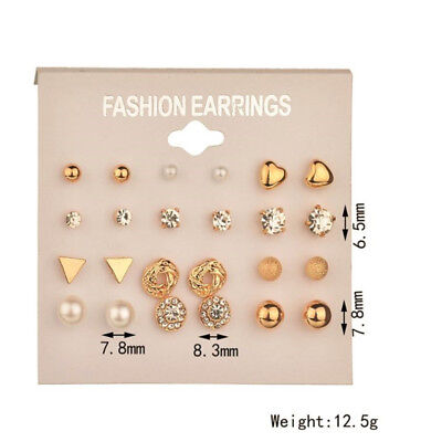 A Set Of 12 Pairs Different Style  Ear Studs Earrings Allergy Free Wholesale UK 4