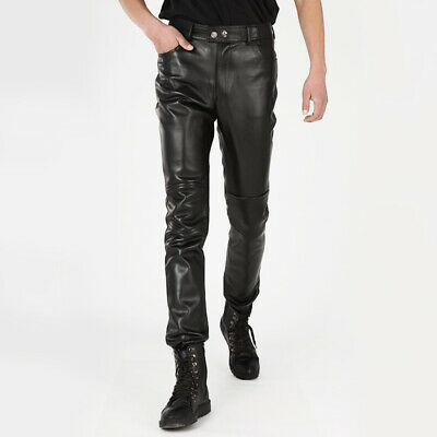 Mens Faux Leather Motorcycle Slim Fit Pants Waterproof Skinny Rock Punk Trousers