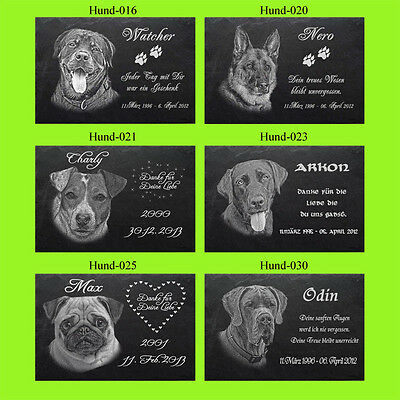 GRABPLATTE Grabmal Grabstein Tiergrabstein Hund-041 ► Foto Gravur ◄ 30 x 20cm