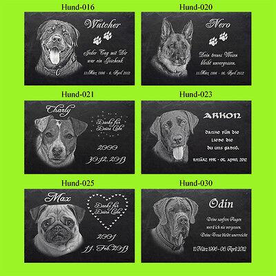 GRABSTEIN Tiergrabstein Gravur Hunde Hund-042 ► 30 x 20 cm ◄ Ihr Foto + Text