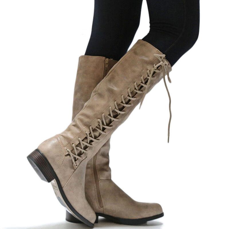 Damen Warm Overknee Lang Schnüren Stiefel Blockabsatz Flach ym80wPnOvN