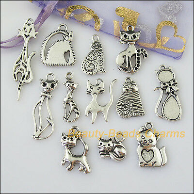 12 New Mixed Lots of Tibetan Silver Tone Animal Cat Charms Pendants