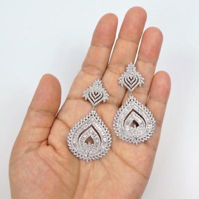 Shiny Silver Tone Sparkling CZ Cubic Zirconia Large Teardrop Chandelier Earrings 2