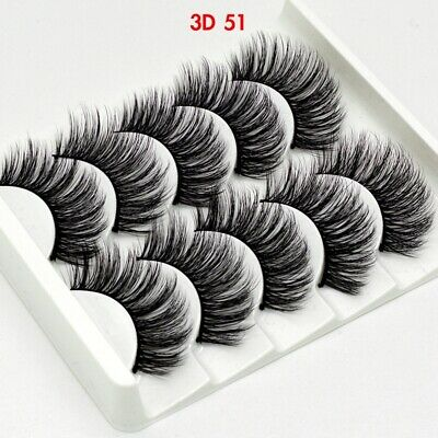 UK 5 Pairs 3D Fake Eyelashes Long Thick Natural False Eye Lashes Set Mink Makeup 7
