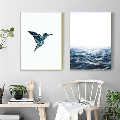 Blue Ocean Geometric Artwork Bird Canvas Painting Sea Waves Wall Print Art Decor 2