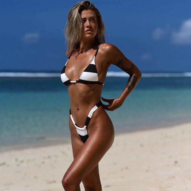 Womens Striped Bra Bikini Set Push Up Padded Sexy G Strings Swimwear Swimsuit XL 6