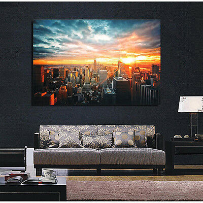 Modern Art New York City Sunset Poster Wall Cityscape Cloth Print Home Decor New 2