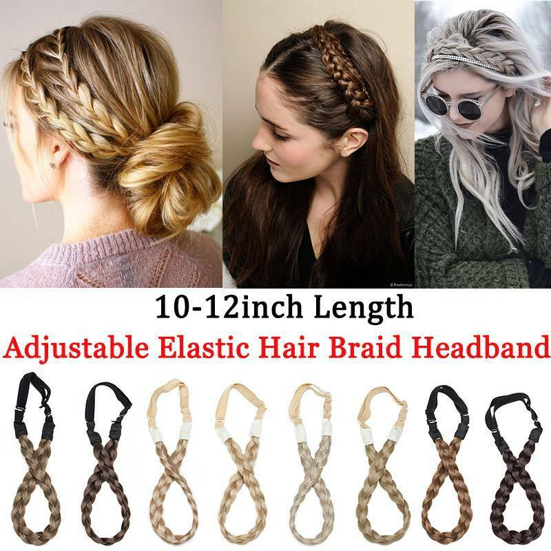 Wide Hair Plait Thick Chunky Braided Hairpiece Brown Headband Hairband 25-30cm 6
