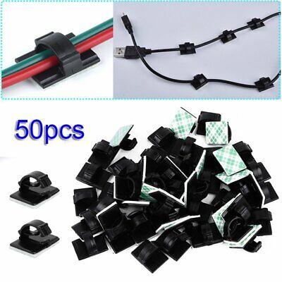 50tlg AUTO Kabelhalter selbstklebend Kabelklemme Kabelclip Kabel Organiser Set