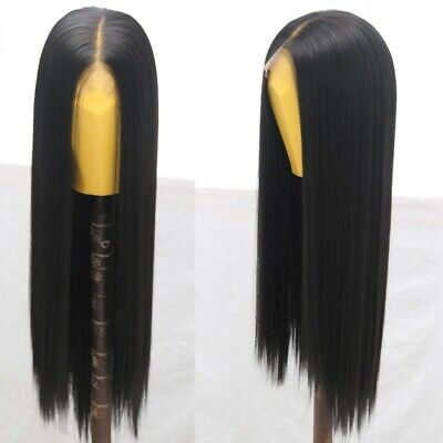 """AU 24"""" Natural Straight Synthetic Fiber Hair Handtied Off Black Lace Front Wig 7"""