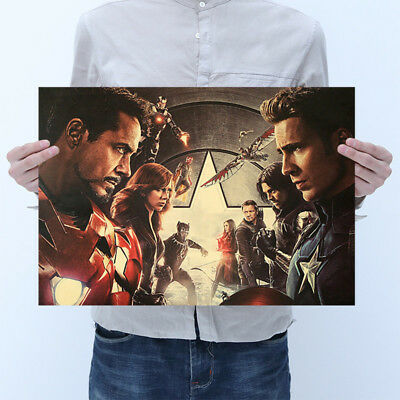 Avengers 2 Vintage Iron Man Hulk Thor Black Widow Kraft Paper Poster Decor Print