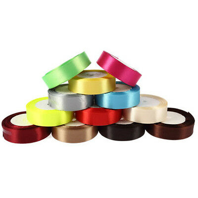 25 Yds Length DIY Colorful Double-faced Ribbon for Wedding Party Craft Satin Hot 6