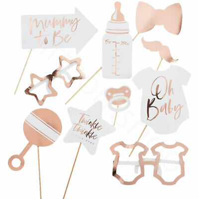 10pc Baby Shower Photo Booth Props Unisex Selfie Oh Baby Rose Gold Party Games 2