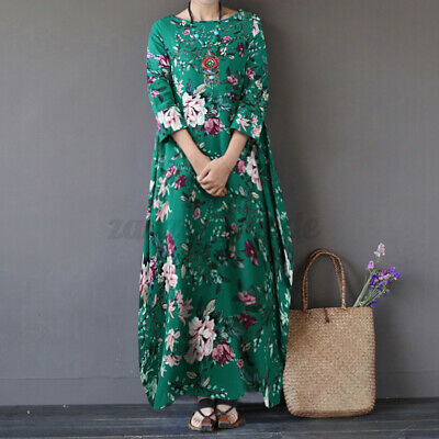 UK Women Holiday 3//4 Sleeve Printed Floral Maxi Dress Ladies Casual Baggy Kaftan