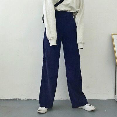 c74eacc449e5 ... Femmes Velours Côtelé Pantalon en Vrac Décontracté Taille Haute Longue  Vintage 9
