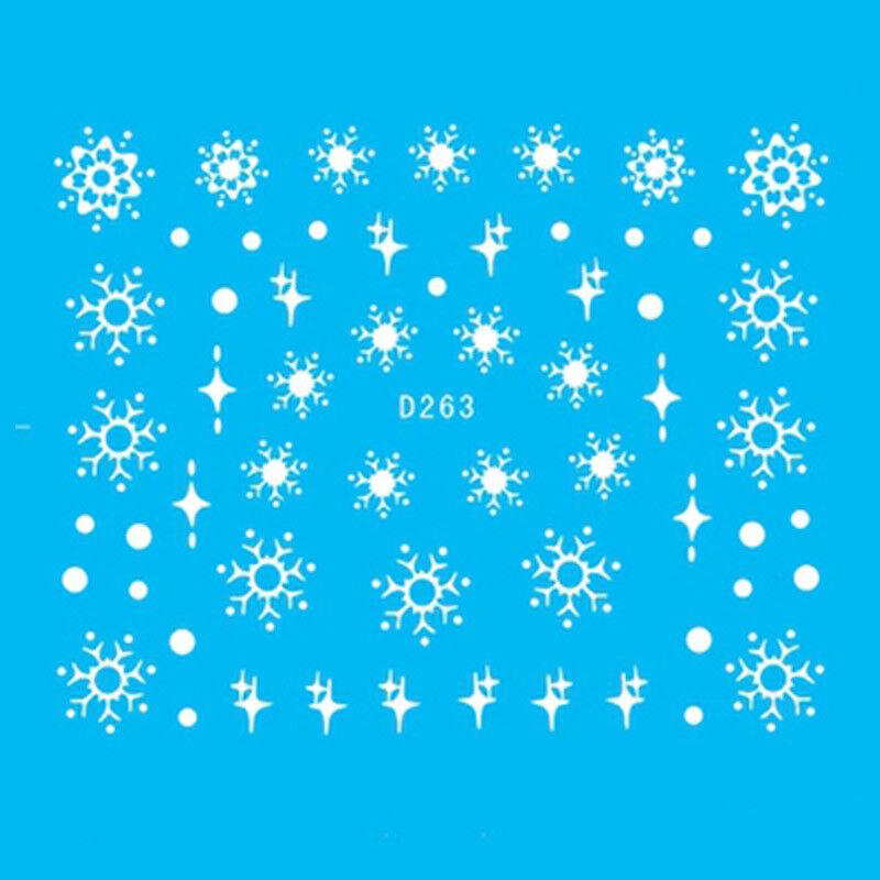 11pcs / Hoja uñas de arte pegatinas blanca flor nieve Navidad Adhesivos Manicura
