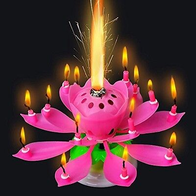 ROTATING Lotus Candle Birthday Flower Musical Floral Cake Candles W Music Magic 4
