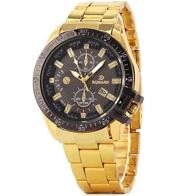 Luxury Mens Black Dial Gold Stainless Steel Date Quartz Analog Sport Wrist Watch 7