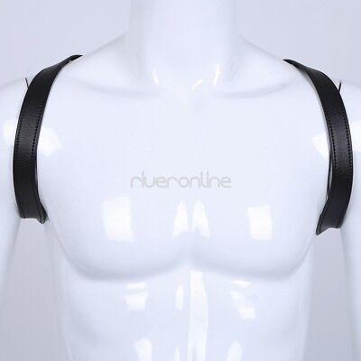 Männer Brustgurt Harnes Leder Riemen Kostüm Einstellbar Schulter Gurt Schwarz 4