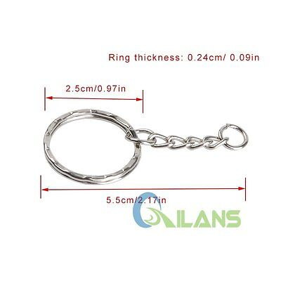 200pcs DIY 25mm Polished Silver Keyring Keychain Split Ring Short Chain Key Ring 9