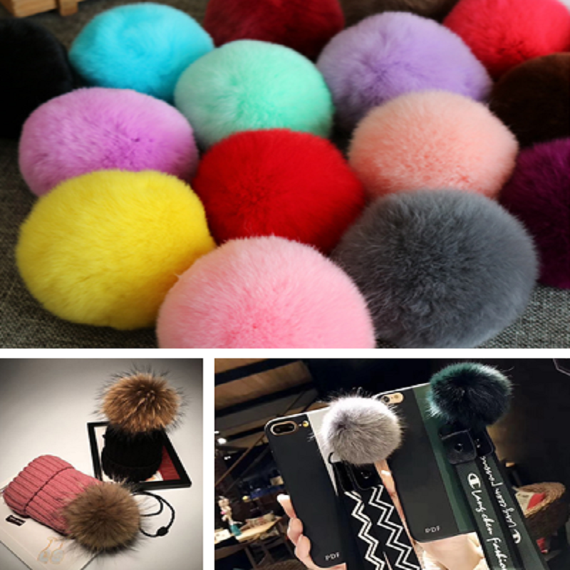 5× 6CM DIY Genuine Rabbit Fur Ball Chain Key Bag Pendants Fur Pompon Keychains 3