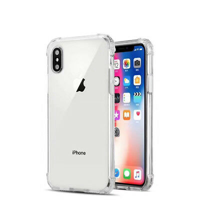 For iPhone XS Max XR X 8 7 6 5 Shockproof Bumper Transparent Silicone Case Cover 12