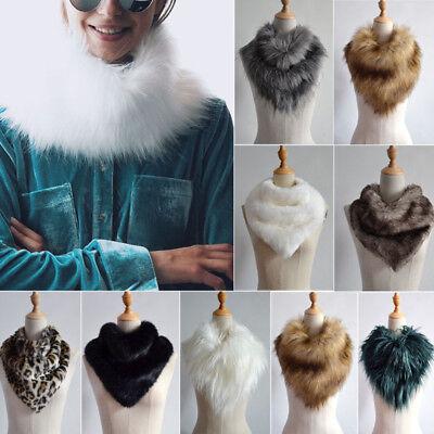 Women Faux Fur Scarf Shawl Collar Stole Cape Long Soft Scarves Winter Warm Wrap