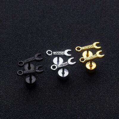 Fashion Punk Men Small Screw Wrench Stainless Steel Stud Earrings Jewelry GifJQJ