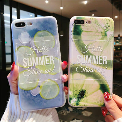 For iPhone X 8 6s 7 Plus Cute Fruits Pattern Slim Relief Matte Soft Case Cover 12