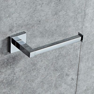 Chrome Modern Bathroom Wall Accessories Square Toilet Roll Paper Holder UKGT 2